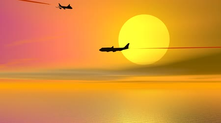 fullhd : Aircrafts by sunset - 3D render
