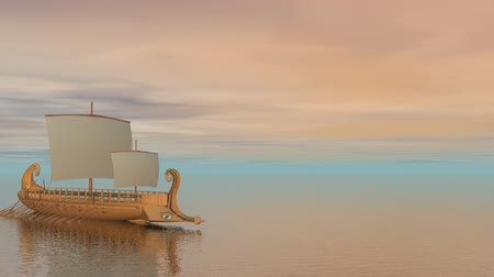 древний : Trireme boat on the ocean - 3D render