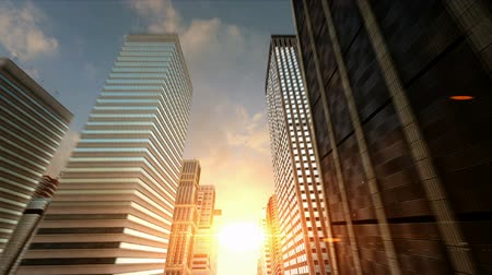 urban skyline : Passing Through a 3D City Facing the Sunset Seamless Loop HD Stock Footage