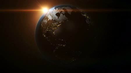 mapa : Planet Earth Rotating Loop Background with Sun and Lens Flare 3D HD