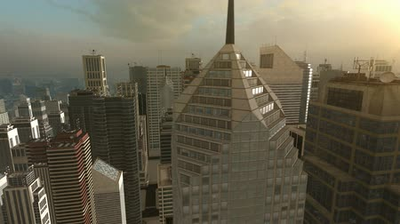 render : 3D City Flight Background Animation HD Stok Video