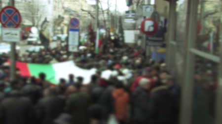 siyasi : Protesters in Eastern Europe holding a flag Stok Video