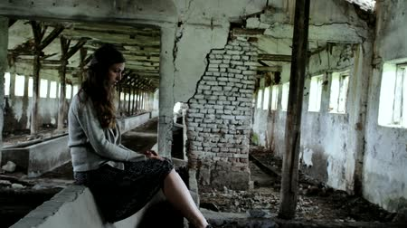 lonely : Contemplating Suicide Young Female in Demolished Building Suicidal Concept HD