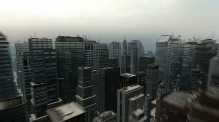 bloklar : Fast Aerial Flight Around 3D City Skyline Business Background Seamless Loop HD