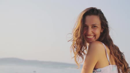 eleganckie : Beautiful Woman Smiling and Waving at Beach Portrait HD Wideo
