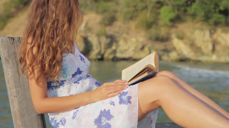 ruha : Book Reading Woman On Pier Vacation Concept HD