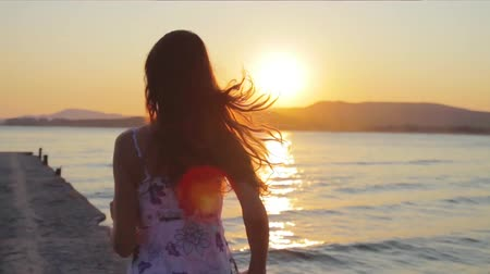 ruha : Young Woman Running Ocean Sun Flare Sunset Dusk Pier HD