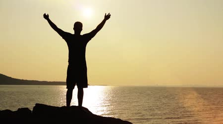osoba : Victory Pose Man On Top of Cliffs Vacation Holiday Concept HD