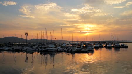 sunset sea : Yachts Sunset Bay Port Ocean Background HD Stock Footage