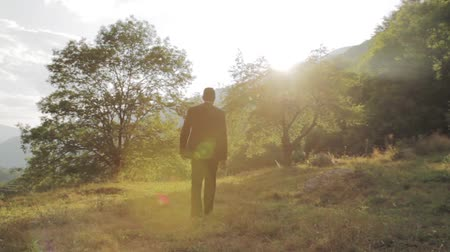 bolsa : Businessman Walking Toward Success Sun NAture Background HD
