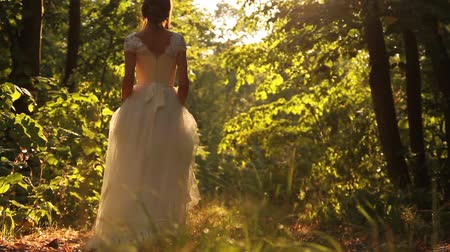 brown dress : Young Female Model Vintage White Dress Walking Forest Smiling Stock Footage