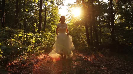 casamento : Beautiful Female White Dress Running Forest Happiness Concept HD Stock Footage