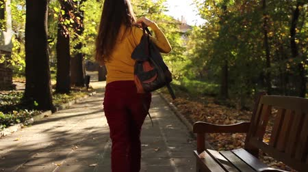 yalnızlık : Attractive Young Woman Walking Away Loneliness Concept Stok Video