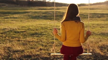 lonely : Lonely Depressed Vintage Young Woman on Swing