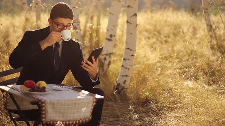таблетка : Remote Business Concept Young Man using tablet pc in nature