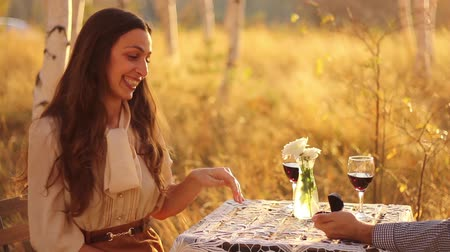 ring : Woman Surprised by Marriage proposal romantic forest date Stock Footage