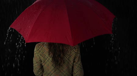 deszcz : Woman Back Standing Lonely Rain Umbrella