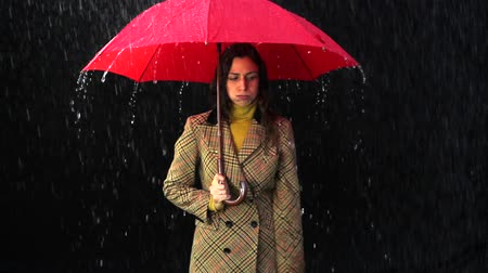 nedves : Woman Upset With Rain Umbrella bad weather concept Stock mozgókép