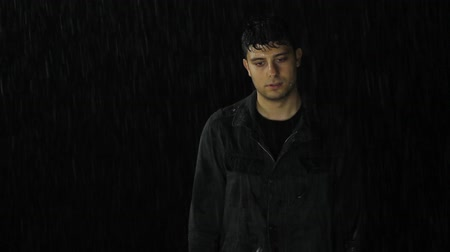 adam : Sad Depressed Young Man Drenched Under Rain Alone Concept Stok Video