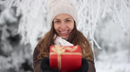 ajándékdobozban : Christmas Present Pretty Woman Smiling Winter Outdoors