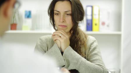 healthy office : Young Woman Doctor Office Receiving Bad News Upset Crying Stock Footage
