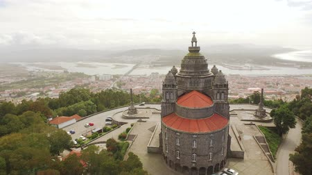руины : Aerial View Santa Luzia Church Drone Portugal Travel Architecture Landscape Sanctuary Viana Do Castelo Famous History Southern Europe Dome Old