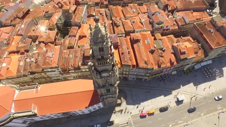Drone Footage City Porto Clerigos Church Baroque Bell Tower Portugal Residential Tourist Attraction Famous Historic Road Europe Old Travel Landmark Dostupné videozáznamy