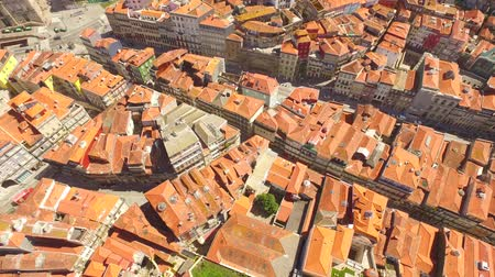 Aerial Footage Cityscape Roof Drone Dwelling City Porto Clerigos Church Baroque Residential Portugal Tourist Attraction Famous Europe Travel Landmark Crowded Stock mozgókép