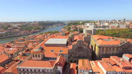 Aerial View Church Cityscape City Travel Roof Architecture Europe Landmark Portugal House Building Residential Time-Lapse Elbe River History Sky Tourism