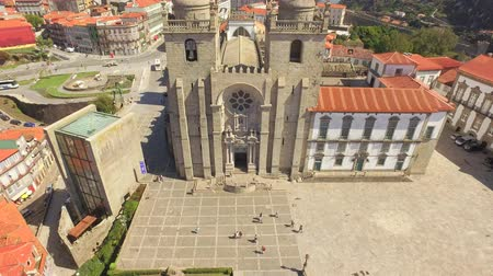 Travel Architecture Porto Cathedral Drone Portugal Lisbon Famous Historic Europe Facade Ornate Old 4K Religion Tourism Attraction