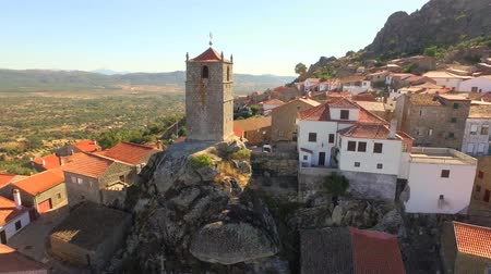 falu : Guaita Tower Historic Drone Landscape Travel Portugal City Building Europe Tourism 4K Aerial Famous History Architecture Nature Residential Rock