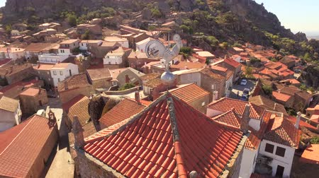 Drone Weathercock Landscape Aerial Guaita Tower Historic Travel Portugal City Europe Tourism 4K Famous History Architecture Residential Nature Sky Direction