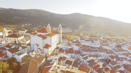 adriyatik : Aerial Church Tower Drone Community Mountain Sunlight Landscape Travel Dwelling Crowded Residential Historic Europe Famous Roof Tourism Portugal 4K Nature Stok Video