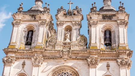 ceramika : Footage Alcobaca Monastery Sculpture Drone Bell Tower Ornate Mediaeval Architecture Portugal Roman Catholic Porto Famous Travel Attraction History Europe Gothic