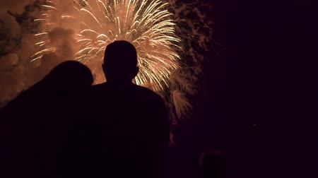 Beautiful Fireworks Display As Young Pretty Couple Enjoy Love Romance Anniversary Happy Relationship Concept