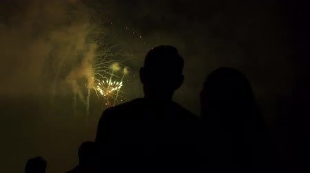 Young Couple Silhouette Watching Heart Shaped Fireworks On Romantic Date
