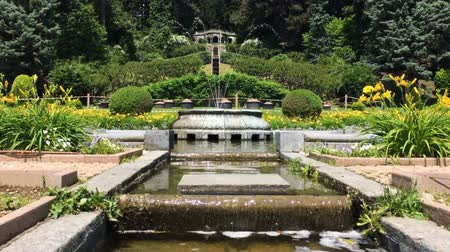 park paths : Time lapse of the fountain in the flower gardens of Villa Toeplitz on sunny spring day, Varese, Italy.