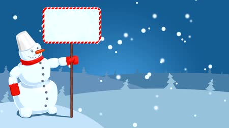 HD cartoon of snowman with falling snowflakes