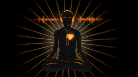 HD cartoon of yoga listening to his heart, with sound waves