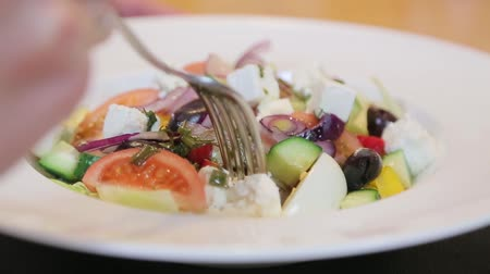 eat background : Salad with a fork closeup. Stock Footage