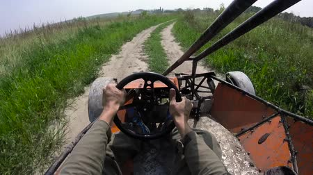 quadbike : Riding on the buggy first person view. Stock Footage