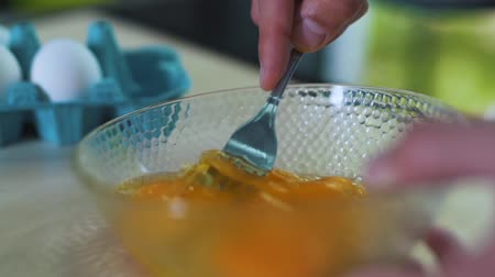 concoction : The man is doing omelette. Stock Footage