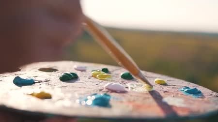 desigual : palette with paints close up. Stock Footage