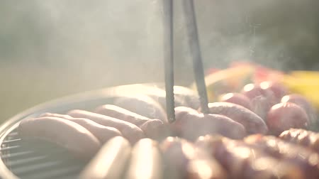 sausages are grilled close up.
