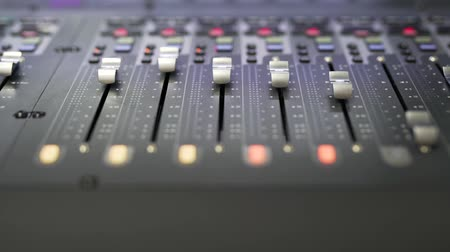 Sliders move on the music mixing console. Stock Footage