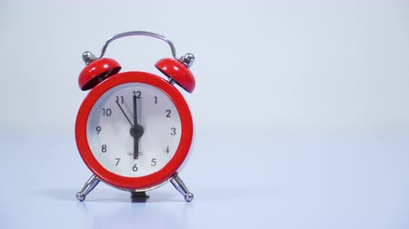 The red vintage alarm clock. Stock Footage