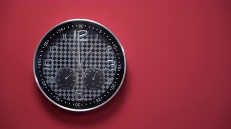 analog clock on red background.