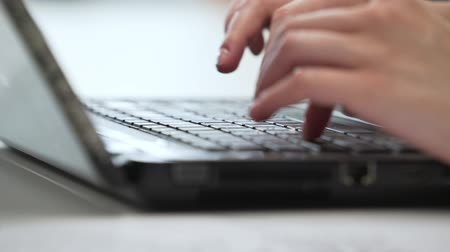 Office worker uses laptop close-up. Stock Footage