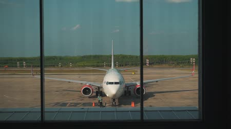 уменьшающийся : view of the plane from the airport terminal