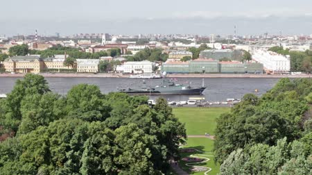 sobor : View from the colonnade of St. Isaacs Cathedral on the Neva River